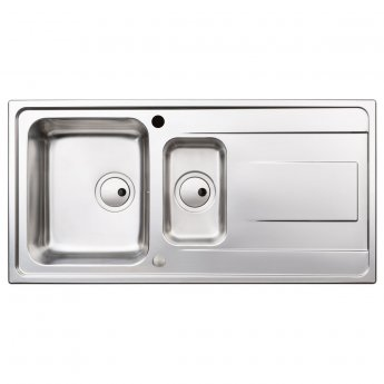 Abode Ixis 1.5 Bowl Inset Kitchen Sink 1000mm L x 500mm W - Stainless Steel