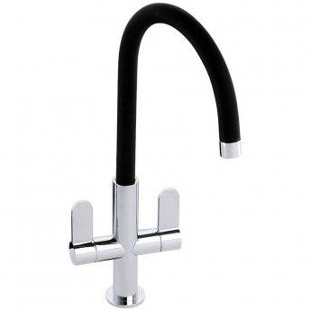 Abode Linear Nero Monobloc Kitchen Sink Mixer Tap - Chrome/Black