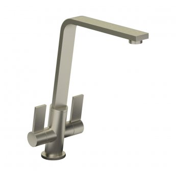 Abode Linear Flair Monobloc Dual Lever Kitchen Sink Mixer Tap - Brushed Nickel