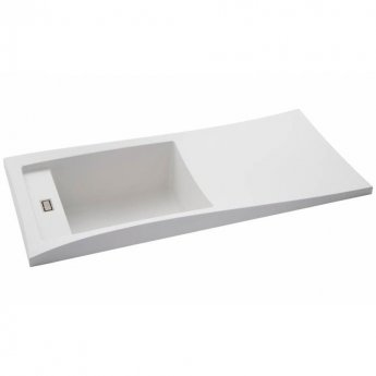 Abode Londa 1.0 Bowl Granite Kitchen Sink with Reversible Drainer 950mm L x 450mm W - Frost White