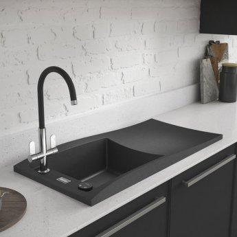 Abode Londa 1.0 Bowl Granite Kitchen Sink with Reversible Drainer 950mm L x 450mm W - Grey Metallic