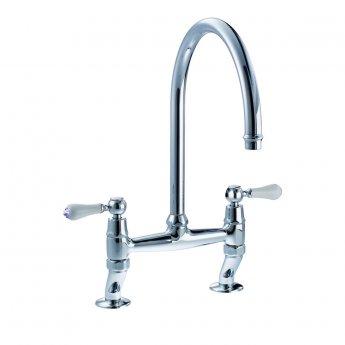 Abode Ludlow Traditional Bridge Dual Lever Kitchen Sink Mixer Tap - Chrome