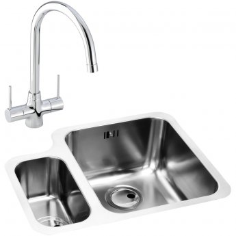 Abode Matrix 1.5 RH Bowl Kitchen Sink with Nexa Sink Tap 572mm L x 450mm W - Stainless Steel