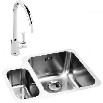 Abode Matrix 1.5 RH Bowl Kitchen Sink with Atlas Sink Tap 572mm L x 450mm W - Stainless Steel