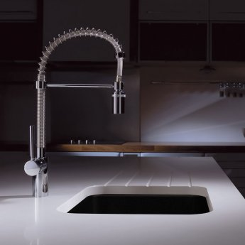 Abode Matrix GR10 1.0 Bowl Granite Inset Kitchen Sink 506mm L x 496mm W - Black Metallic