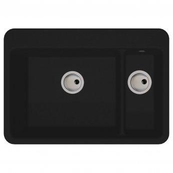 Abode Matrix GR10 1.5 Bowl Granite Inset Kitchen Sink 706mm L x 496mm W - Black Metallic