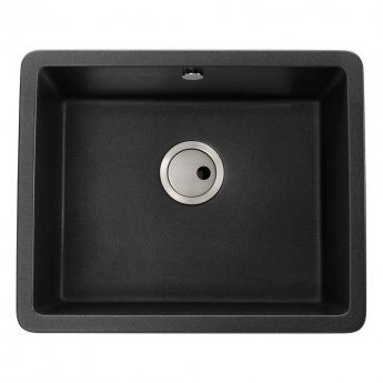 Abode Matrix SQ GR15 1.0 Bowl Granite Inset Kitchen Sink 560mm L x 460mm W - Black Metallic