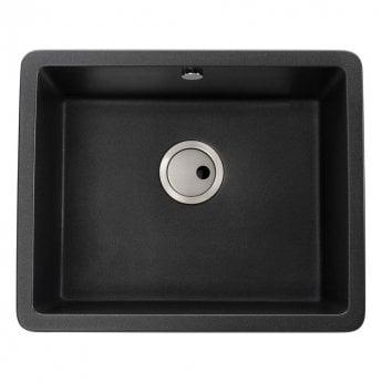 Abode Matrix SQ GR15 1.0 Bowl Granite Inset Kitchen Sink 560mm L x 460mm W - Black Metallic