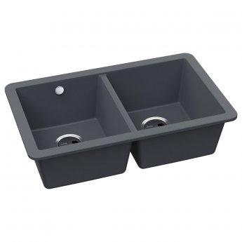 Abode Matrix SQ GR15 2.0 Bowl Granite Undermount Kitchen Sink 758mm L x 460mm W - Grey Metallic
