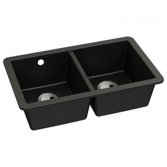 Abode Matrix SQ GR15 2.0 Bowl Granite Undermount Kitchen Sink 758mm L x 460mm W - Black Metallic