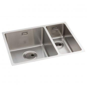 Abode Matrix R15 1.5 Left Handed Bowl Undermount Kitchen Sink 580mm L x 440mm W - Stainless Steel