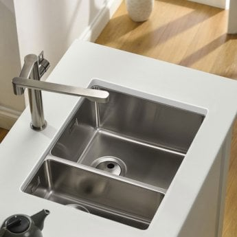 Abode Matrix R15 1.5 Right Handed Bowl Undermount Kitchen Sink 580mm L x 440mm W - Stainless Steel