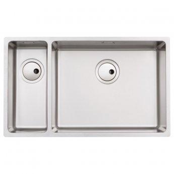 Abode Matrix R15 1.5 Right Handed Bowl Undermount Kitchen Sink 740mm L x 440mm W - Stainless Steel