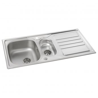 Abode Mikro 1.5 Bowl Inset Kitchen Sink With Waste 1000mm L x 500mm W - Stainless Steel