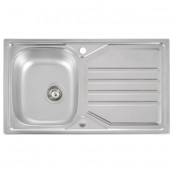 Abode Mikro 1.0 Bowl Inset Kitchen Sink With Waste 860mm L x 500mm W - Stainless Steel