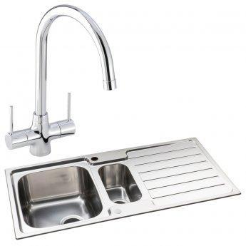 Abode Neron 1.5 Bowl Inset Kitchen Sink with Nexa Sink Tap 1000mm L x 500mm W - Stainless Steel