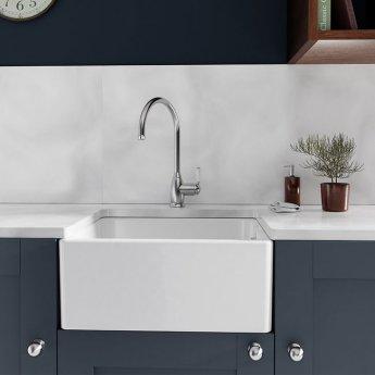 Abode New Belfast 1.0 Bowl Ceramic Undermount Kitchen Sink 595mm L x 455mm W - White