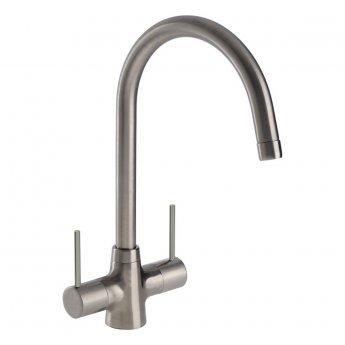 Abode Nexa Monobloc Dual Lever Kitchen Sink Mixer Tap - Brushed Nickel