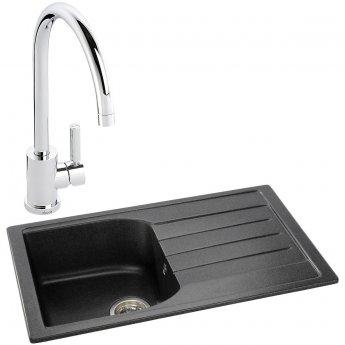 Abode Oriel 1.0 Bowl Granite Inset Kitchen Sink with Atlas Sink Tap 780mm L x 480mm W - Black