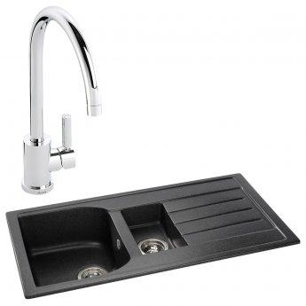 Abode Oriel 1.5 Bowl Granite Inset Kitchen Sink with Atlas Sink Tap 950mm L x 480mm W - Black