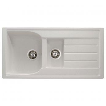 Abode Oriel 1.5 Bowl Granite Inset Kitchen Sink 950mm L x 480mm W - Frost White