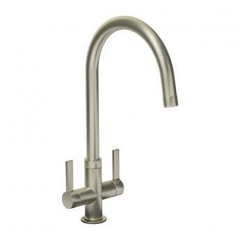Abode Pico Monobloc Dual Lever Kitchen Sink Mixer Tap - Brushed Nickel