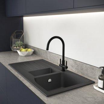 Abode Pico Monobloc Dual Lever Kitchen Sink Mixer Tap - Matt Black