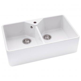 Abode Provincial 2.0 Bowl Ceramic Undermount Kitchen Sink 794mm L x 490mm W - White