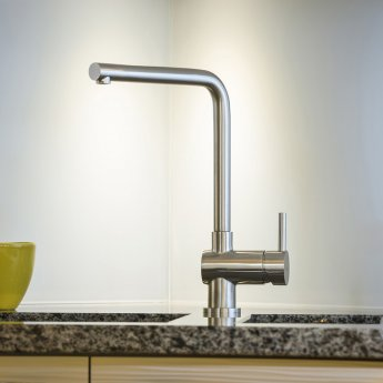 Abode Quala Single Lever Kitchen Sink Mixer Tap - Stainless Steel