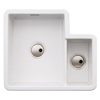 Abode Sandon 1.5 Bowl Ceramic Kitchen Sink 595mm L x 520mm W - White