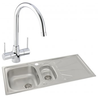 Abode Trydent 1.5 Bowl Inset Kitchen Sink with Nexa Sink Tap 1000mm L x 500mm W - Stainless Steel