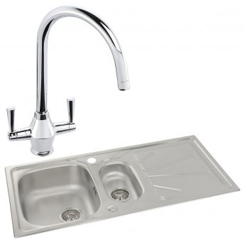 Abode Trydent 1.5 Bowl Inset Kitchen Sink with Astral Sink Tap 1000mm L x 500mm W - Stainless Steel