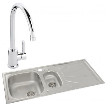 Abode Trydent 1.5 Bowl Inset Kitchen Sink with Atlas Sink Tap 1000mm L x 500mm W - Stainless Steel