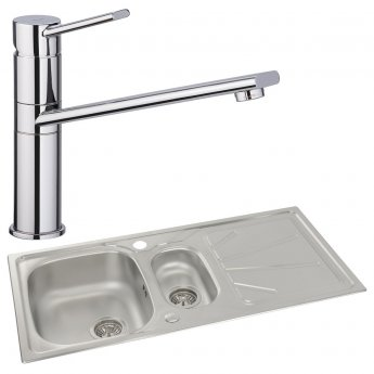 Abode Trydent 1.5 Bowl Inset Kitchen Sink with Specto Sink Tap 1000mm L x 500mm W - Stainless Steel