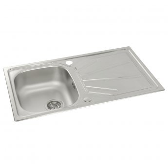 Abode Trydent 1.0 Bowl Inset Kitchen Sink 860mm L x 500mm W - Stainless Steel