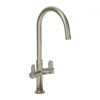 Abode Verla Monobloc Dual Lever Kitchen Sink Mixer Tap - Brushed Nickel