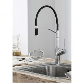 Abode Virtue Semi Pro Pull Out Kitchen Sink Mixer Tap - Chrome/Black