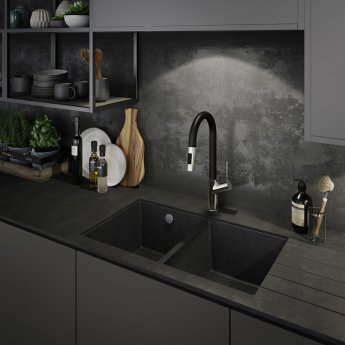 Abode Virtue Nero Side Lever Pull Out Kitchen Sink Mixer Tap - Chrome/Black