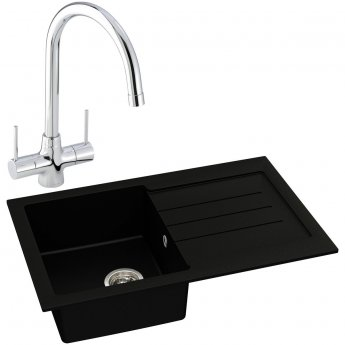 Abode Xcite 1.0 Bowl Granite Kitchen Sink with Nexa Sink Tap 780mm L x 500mm W - Black Metallic
