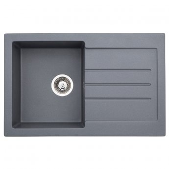 Abode Xcite 1.0 Bowl Granite Inset Kitchen Sink 780mm L x 500mm W - Grey Metallic