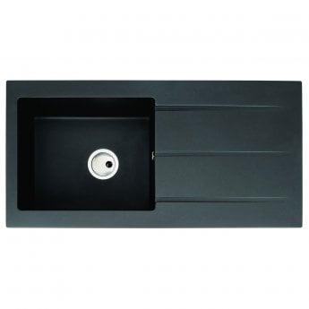 Abode Zero 1.0 Bowl Granite Kitchen Sink With Reversible Drainer 1000mm L x 500mm W - Black Metallic