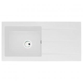 Abode Zero 1.0 Bowl Granite Kitchen Sink With Reversible Drainer 1000mm L x 500mm W - White