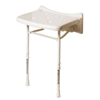 AKW 2000 Series Compact Fold Up Shower Seat - White Unpadded