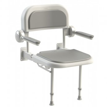 AKW 3000 Series Shower Seat with Grey Padded Back and Arms - White