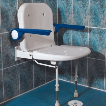 AKW 4000 Series Standard Fold Up Shower Seat with Back and Blue Padded Arms