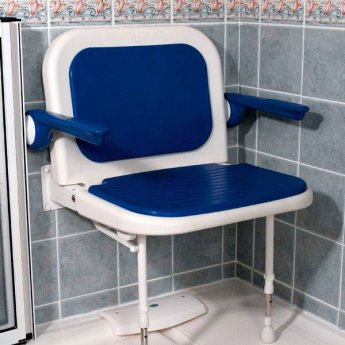 AKW 4000 Series Extra Wide Fold Up Shower Seat Blue with Back & Arms Blue