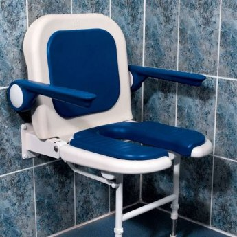 AKW 4000 Series Extra Wide Fold Up Horseshoe Shower Seat Blue, Back & Blue Arms