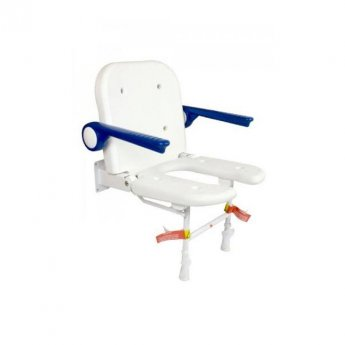 AKW 4000 Series Standard Fold Up Horseshoe Seat and Blue Padded Arms