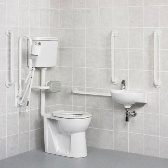 AKW Standard Doc M Pack with Low Level Disabled Toilet - White