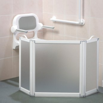 AKW Freeway 3 Panel Portable Shower Screen, 2x350mm x 700mm, 900mm High